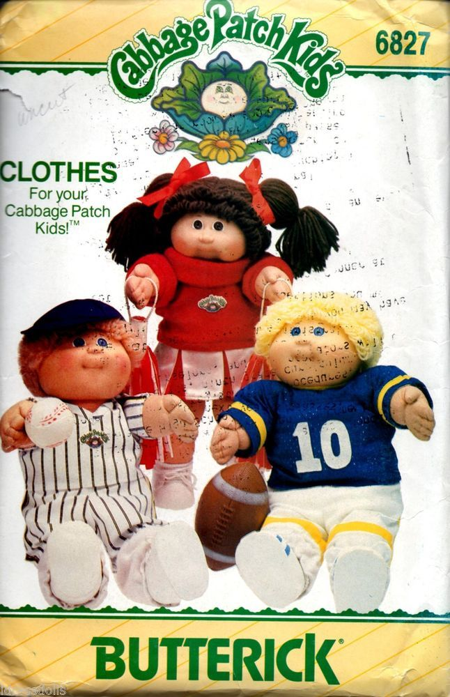 1984 Cabbage Patch Kids Butterick 6827 Cheerleader Sports Uniform Includes Iron On Sheet Cabbage Patch Kids Clothes Cabbage Patch Dolls Cabbage Patch Kids