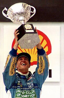 Michael Schumacher wins the 1994 Brazilian GP for Benetton Ford
