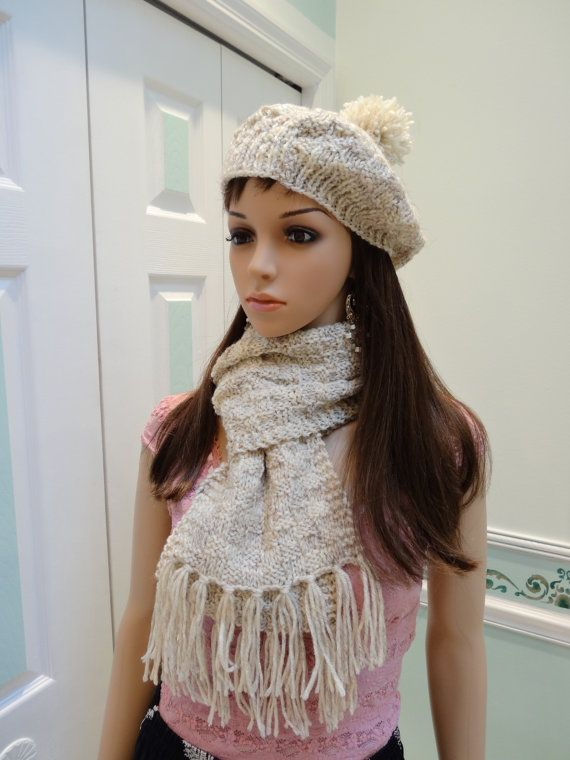 This set has a hat and scarf made in a checkerboard pattern stitch. One size fits all. The scarf is 8 by 58,witha 4 fringe on both ends. The hat has a pompom on top- Made of a wool blend yarn .Made in a smoke free and pet free environment READY TO SHIP . Shipped :FIRST CLASS mail,padded envelope,USA-TRACKING NUMBER-EXPECTED DELIVERY DATE  SHIP WORLD WIDE FROM USA -FIRST CLASS MAIL-CUSTOM DECLARATION NUMBER FOR TRACKING