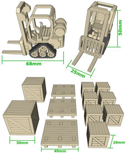 Mini Forklifts with crates. Data