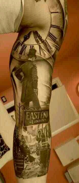 East end London tattoo, sherlock holmes tattoo, jack the ripper tattoo, black ink holy crap thats awesome