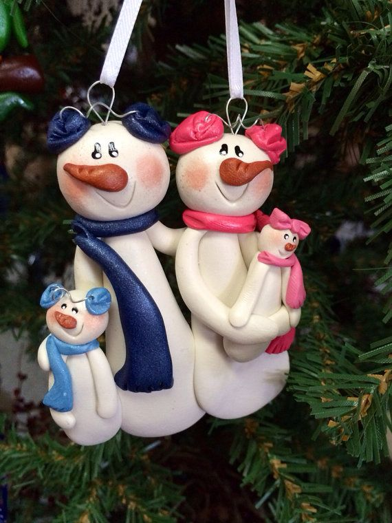 Personalized Snowman Family Polymer Clay by MISTYSCLAYCUTIES