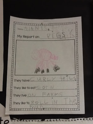 Keeping Up With The Kindergarteners: Fun on the Farm- students research a farm animal and write a report
