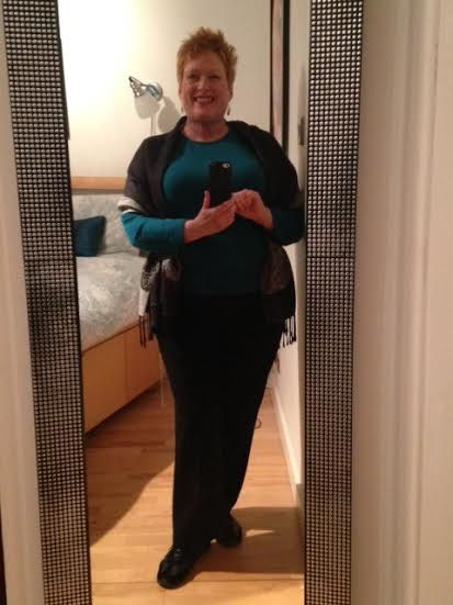 Day 187--Black wool pants, teal wool sweater, rose scarf, hammered silver earrings.