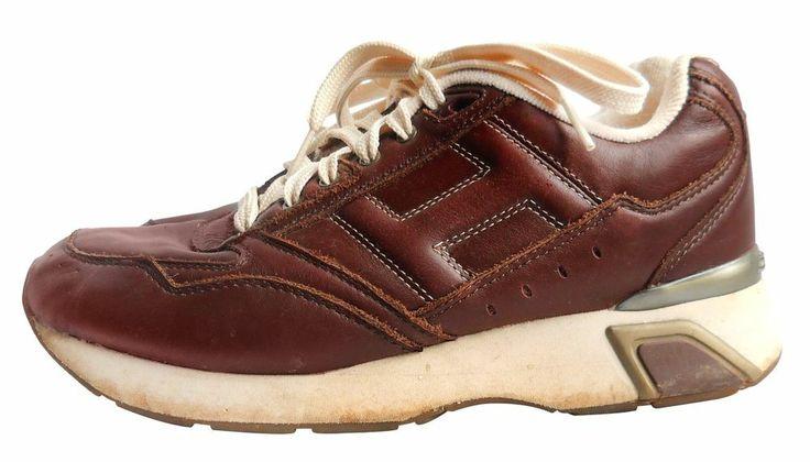 Men Sneaker Shoe Vintage Tommy Hilfiger Athletic 7.5 7 1/2 Brown Leather Trainer