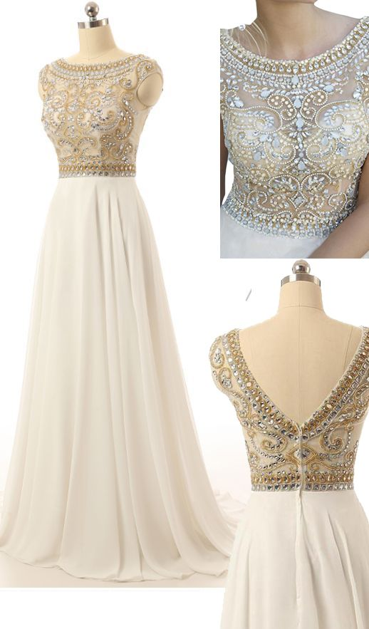 Floor Length Prom Dress,A Line Homecoming Dress,Beading Evening Dress,Scoop…