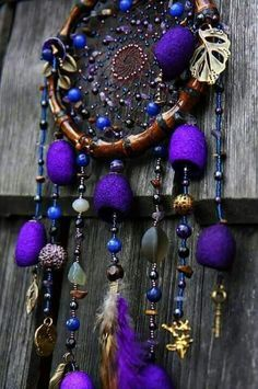 Purple Dreamcatcher...  Make it happen with vintage retro home decor fashion jewelry from www.rubylane.com @rubylanecom #rubylane