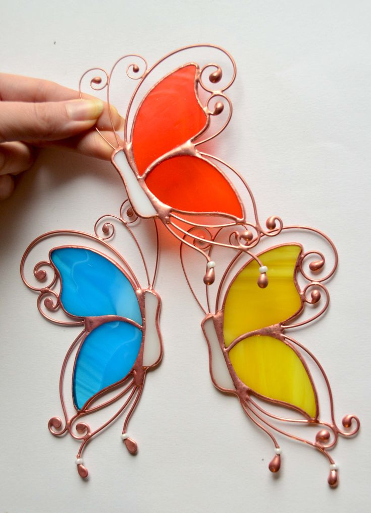 Stained glass butterfly suncatcher, window hanging decoration, stained glass ornaments, garden decor