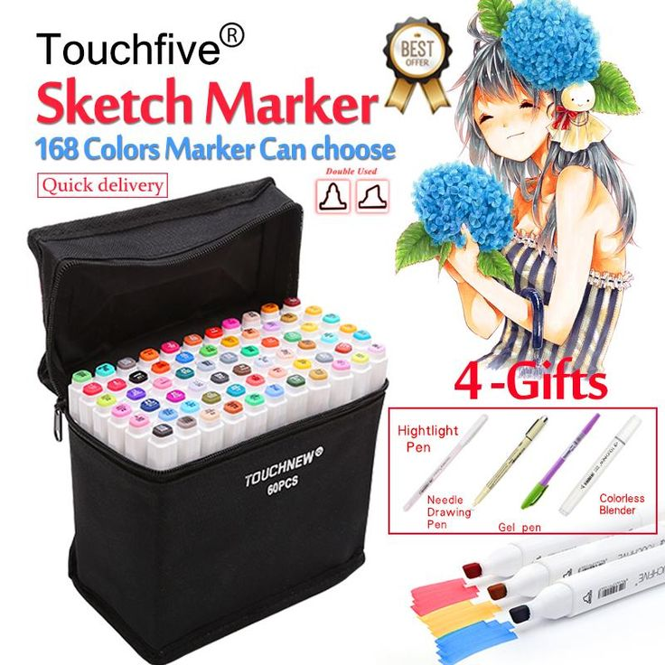 Touchfive 30/40/60/80, 168 Colors Pen Marker Set Dual Head Sketch Markers Brush Pen For Drawing Manga Animation Design Art Supplies