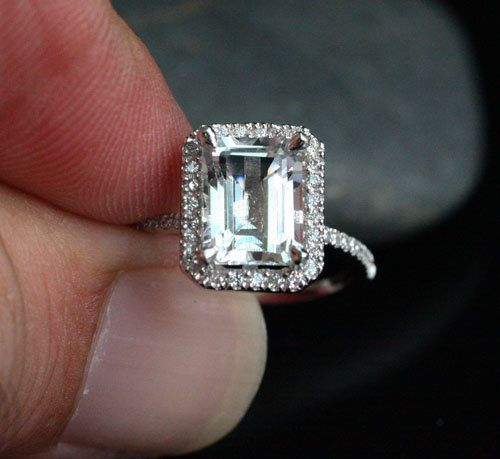 14k White Gold 9x7mm White Topaz Emerald Cut and Diamonds Wedding or Engagement Ring (Choose color and size options at checkout) on Etsy, $813.54 AUD