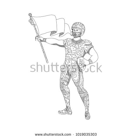 Doodle art illustration of an American football quarterback holding a flag viewed from front done in mandala style.  #americanfootball #doodleart #illustration