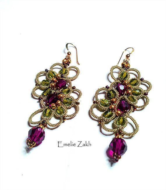 Tatting lace chandelier earrings. Earrings frivolite.Pink dark crystal swarovski earrings.Long earrings.Victorian style Filigrees earrings.