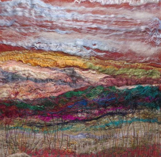 Untitled - Silk, sari silk threads, organza and free motion machine embroidery with silk threads. 17.5 inches x 17.5 inches in pine box frame.