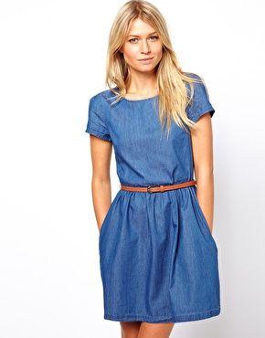 Immagine 1 di Oasis - Vestito a pieghe in chambray