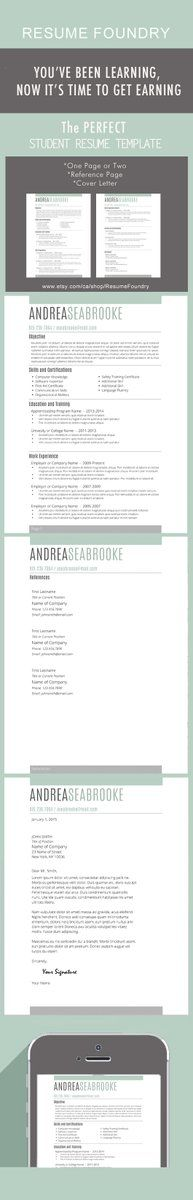 The PERFECT Resume Template For Students. One OR Two Pages, Reference Page  + Cover