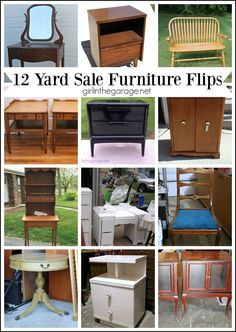 12 Yard Sale Furniture Makeovers - tons of inspiration here! Girl in the Garage
