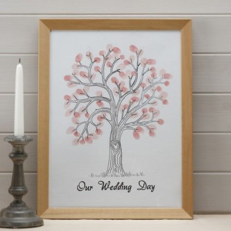 Gastendoek finger print tree roze