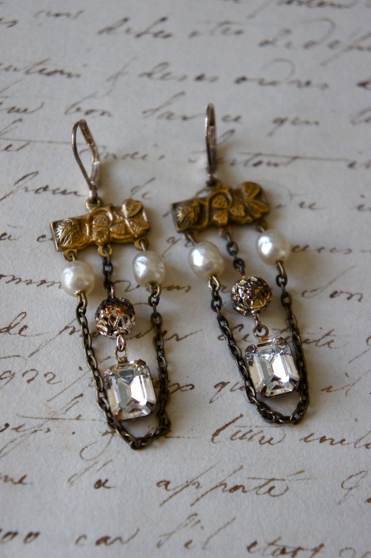 Vintage assemblage earrings Haskell pearls rhinestones chain assemblage jewelry earrings-  by French Feather Designs.. via Etsy.