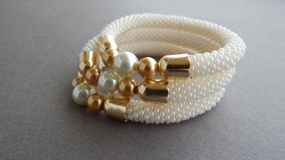 Bracciali di perle uncinetto, 3pce insieme