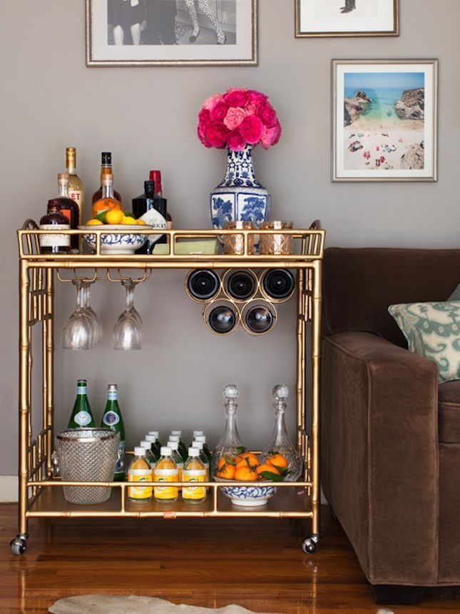 Bar carts are the perfect addition to your small space.