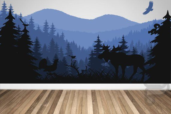 Mountains and Nature Wall Decal / Large Wall Mural / Kids Wall Decal / Nursery Wall Decal / Nursery Decor / Wall Decal / Forest Wall Decal