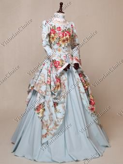 d27a37e16136 Victorian Ball Gown, long sleeve with floral print fairy tale dress, fantasy  costume.
