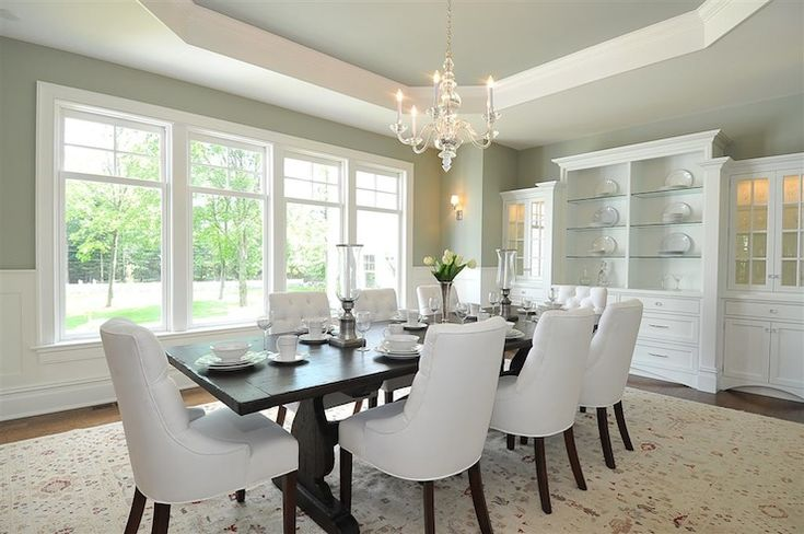 Jillian Klaff Homes: Traditional dining room with sage green paint color and octagon tray ceiling painted ...