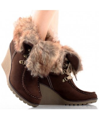 Woman's Brown Suede Hiking Faux Fur Fold Over High Heel Wedge - SHOES