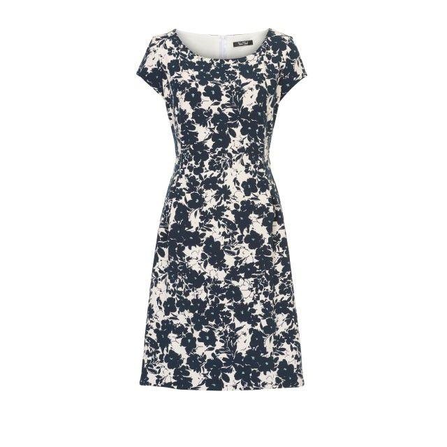 Vera Mont Floral Print Dress Navy