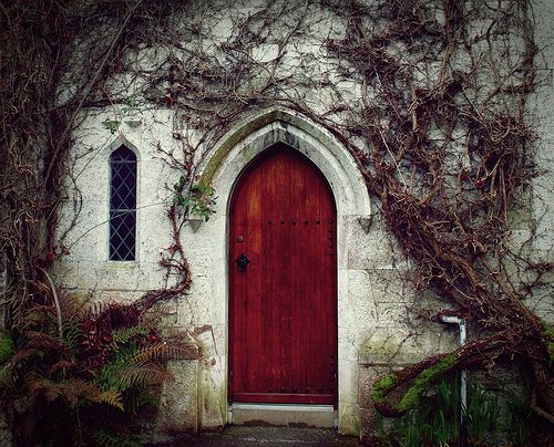 glitchinthematrixx:    bluepueblo:    Door to Knowledge, University of Cork, Ireland  photo via fateoffaye    Every time i see a red door, it makes me thing of Daenerys Targaryen