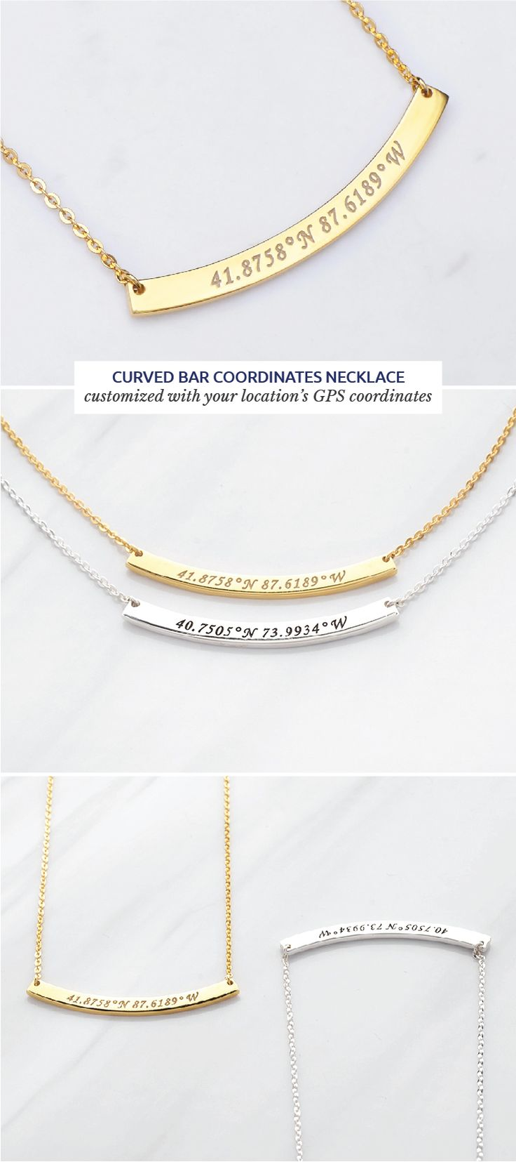 Curved bar coordinates necklace • Gold coordinates necklace • Sister necklace • Going away gifts for friends • high school graduation gifts