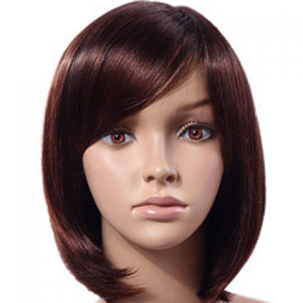 Stylish Short Straight Chestnut Inclined Bang Fluffy Women's Synthetic Wig, MAROON in Synthetic Wigs | DressLily.com
