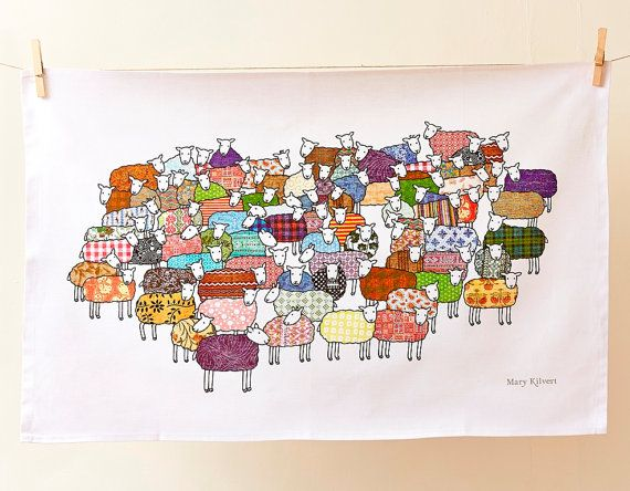 Colourful Sheep Tea Towel by MaryKilvert on Etsy