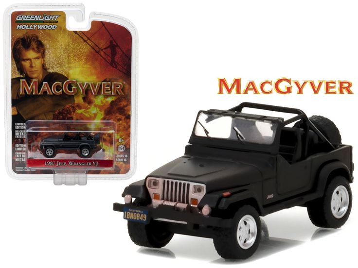 "1987 Jeep Wrangler YJ Black ""MacGyver"""" TV Series (1985-1992) 1/64 Diecast Model Car by Greenlight"""