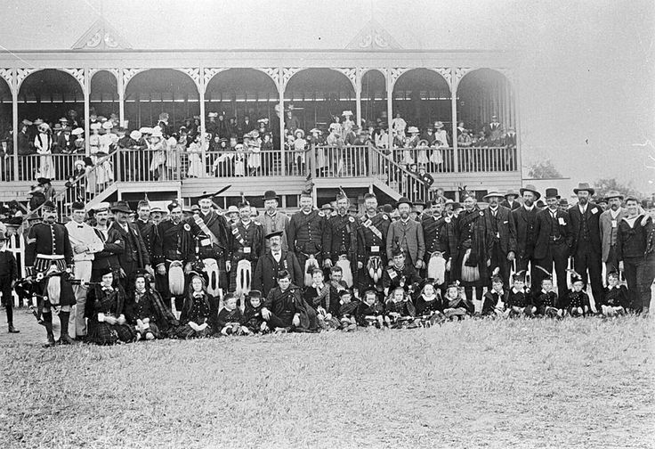 Members of the Caledonian Society at the Warracknabeal Showgrounds in 1910.