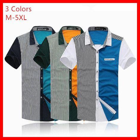 2014  New  Men's (M-5XL)  Contrast  Color  Style  Stripes Short-Sleeve Shirt , G2397 US $27.89