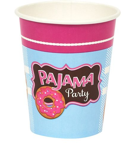 Pajama Party 9 oz. Paper Cups Includes: (8) themed 9 oz. paper cups. Cups are versatile enough to serve warm or cold beverages. Weight (lbs) 0.16 Length (inches) 6 Width (inches) 3 Height(inches) 3