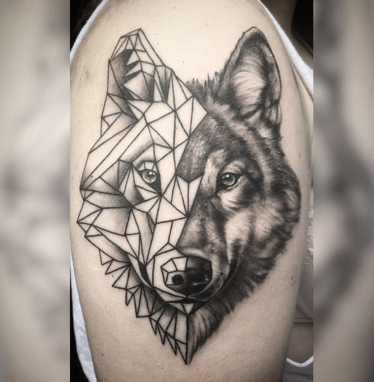 Pin By Justin Dykgraaf On Tattoo Geometric Tattoo Geometric Wolf Tattoo Sleeve Tattoos