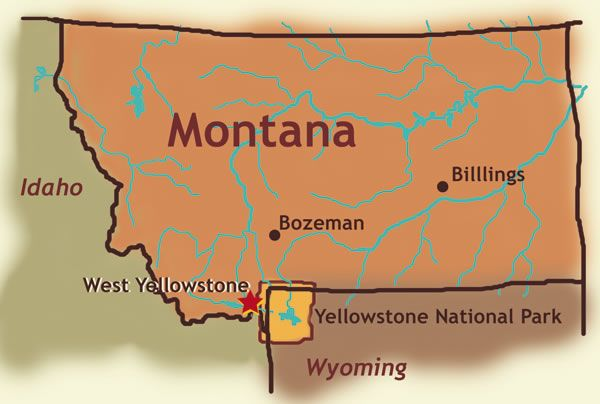 Yellowstone National Park Location On Map Montana Wyoming