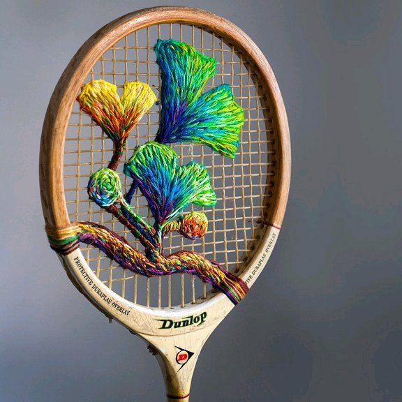 Colorful Embroidery On Old Upcycled Tennis Rackets Hand Embroidery Embroidery Art Rackets