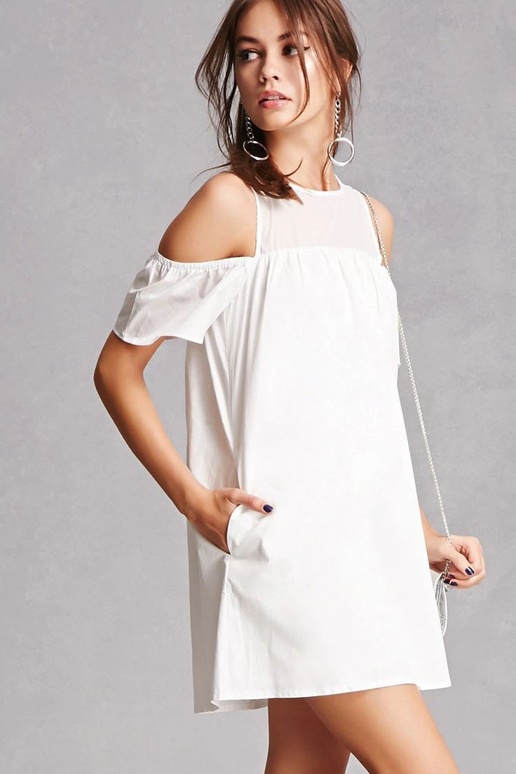 A poplin dress featuring an open-shoulder design, short sleeves with elasticized trim, a sheer yoke with a back button closure and a keyhole cutout, on-seam pockets, and a billowy swing silhouette.<p>- This is an independent brand and not a Forever 21 branded item.</p>
