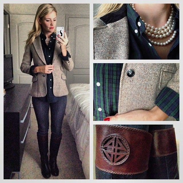 herringbone, blackwatch plaid, jeans, boots @Karla Pruitt Reed