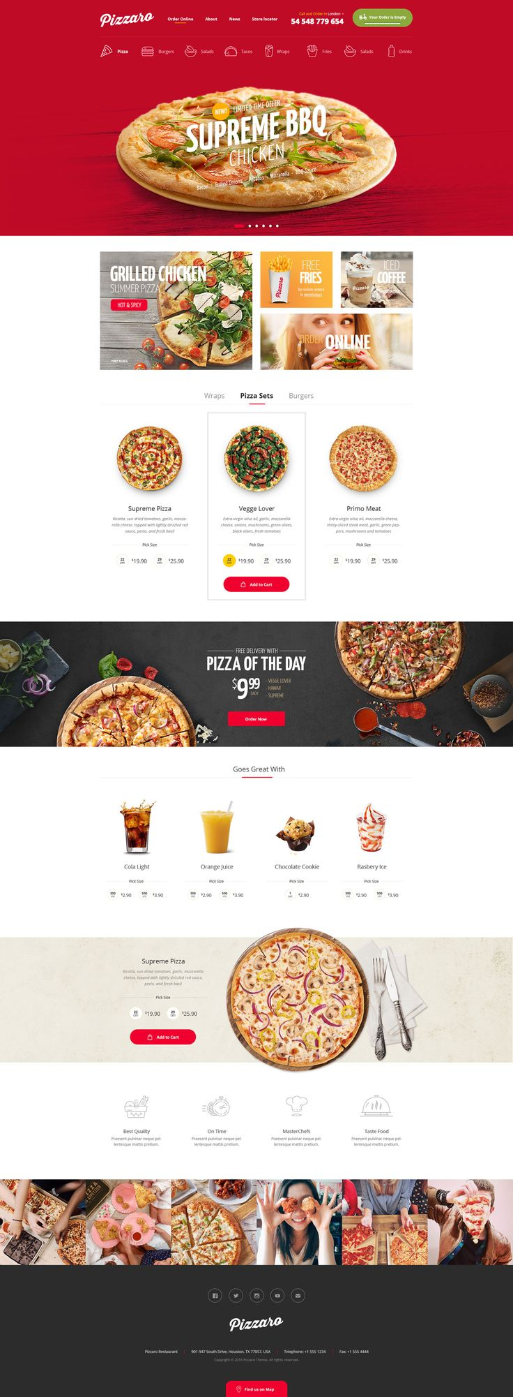 This is a modern, functional and clean layouts design with premium attention to the details for Fast food, sushi and Pizza delivering restaurants.