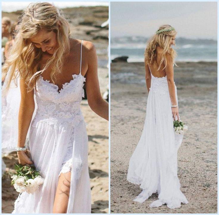 Stunning Low Back Beach Wedding Dress Lace