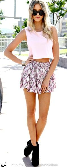 Black shoes, mini skirt and pink single Cool party mini skirt with glitter heels Teen fashion Cute Dress! Clothes Casual Outift for • teens • movies • girls • women •. summer • fall • spring • winter • outfit ideas • dates • school • parties ^..^  click it to buy it: 2014toms.us