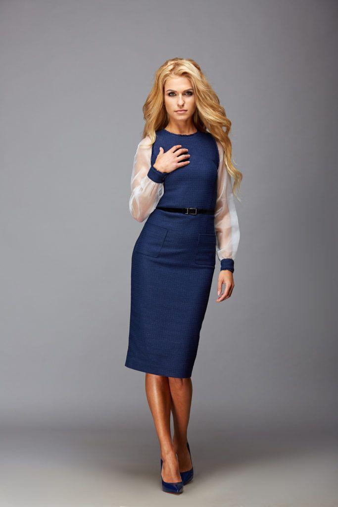 Твидовое платье с шелковыми рукавами. Итальянская ткань. Купить платье из твида - дизайнерская одежда в интернет магазине Орнато ☏ +380670001299