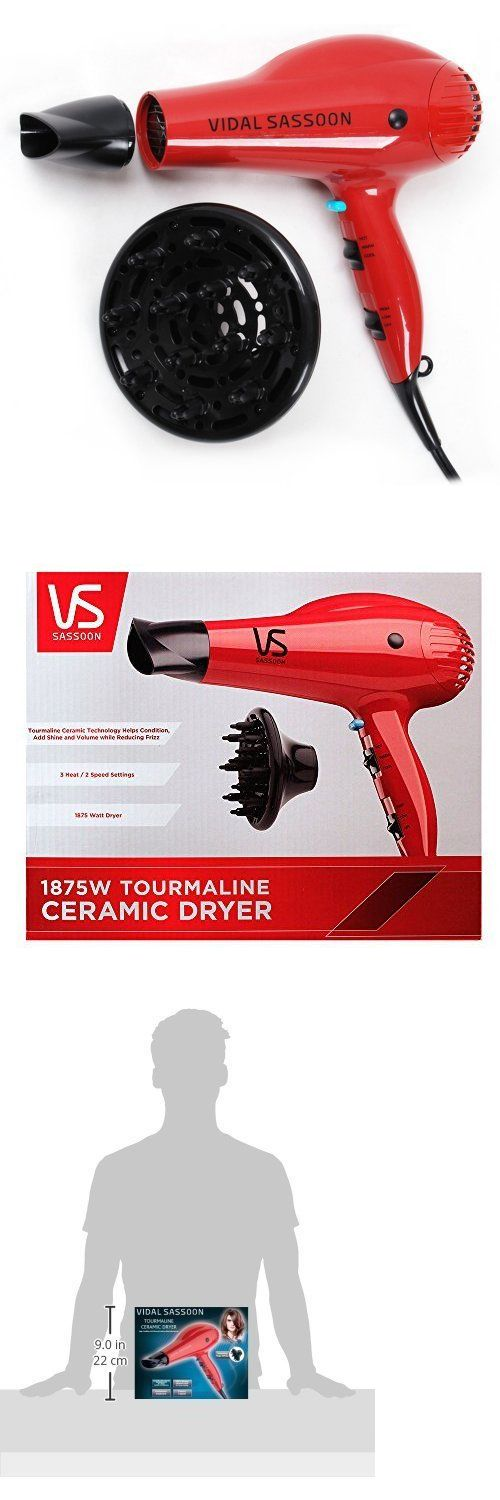 Hair Dryers: Vidal Sasson 1875W Tourmaline Ceramic Hair Blow Dryer With Diffuser BUY IT NOW ONLY: $155.9