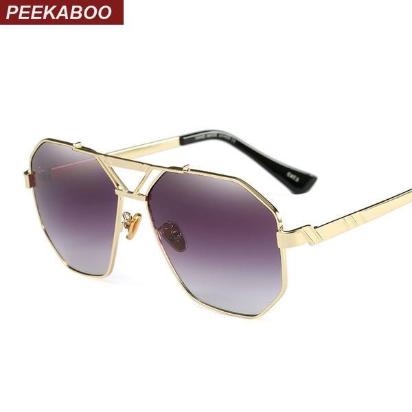 #DealOfTheDay #FASHION #NEW Peekaboo mens gold sunglasses square frame green blue gradient lens designer shades men high quality metal uv400