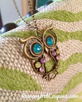Amazon: Colorful Owl Charm Necklace Only $0.77 + FREE Shipping! (Pics Of Mine Too, I LOVE it!)