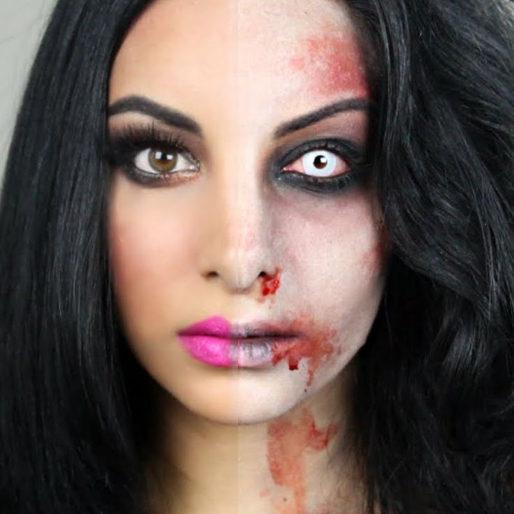 With this half zombie makeup you'll be the envied one at this years halloween party!